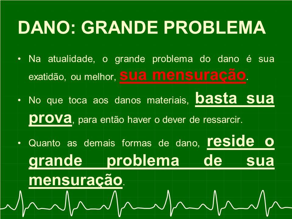 DANO: GRANDE PROBLEMA Na atualidade, o grande problema do dano é sua exatidão, ou melhor, sua mensuração.
