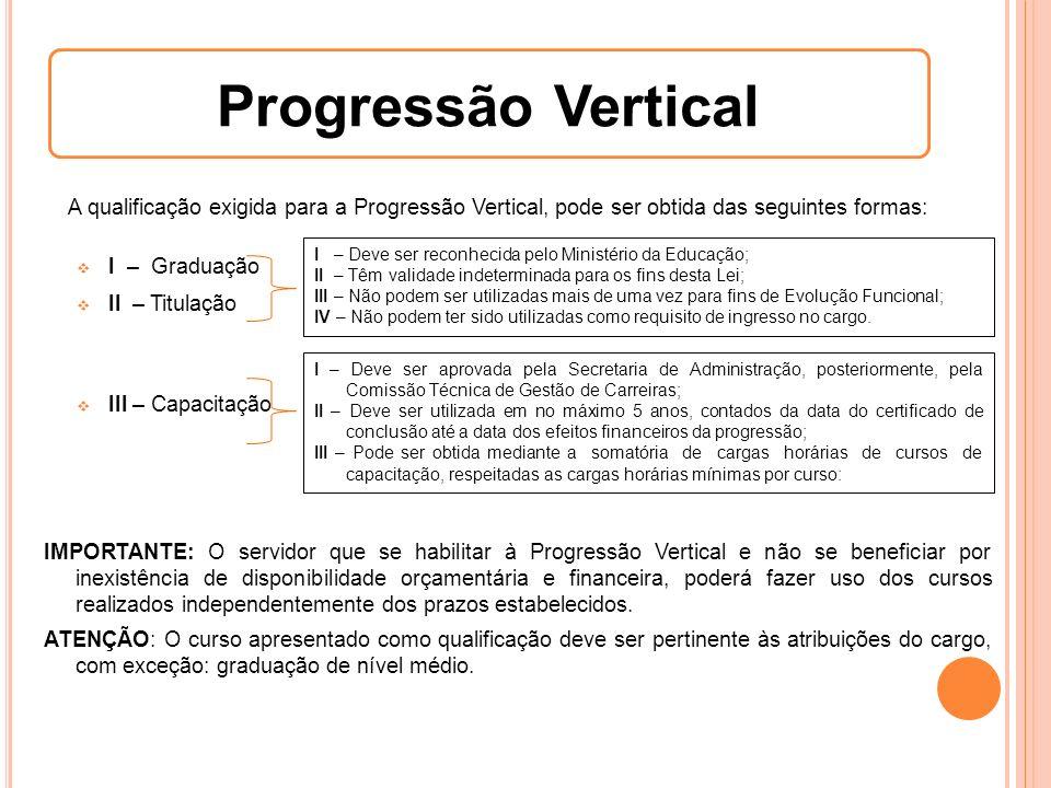 Progressão Vertical A qualificação exigida para a Progressão Vertical, pode ser obtida das seguintes formas: