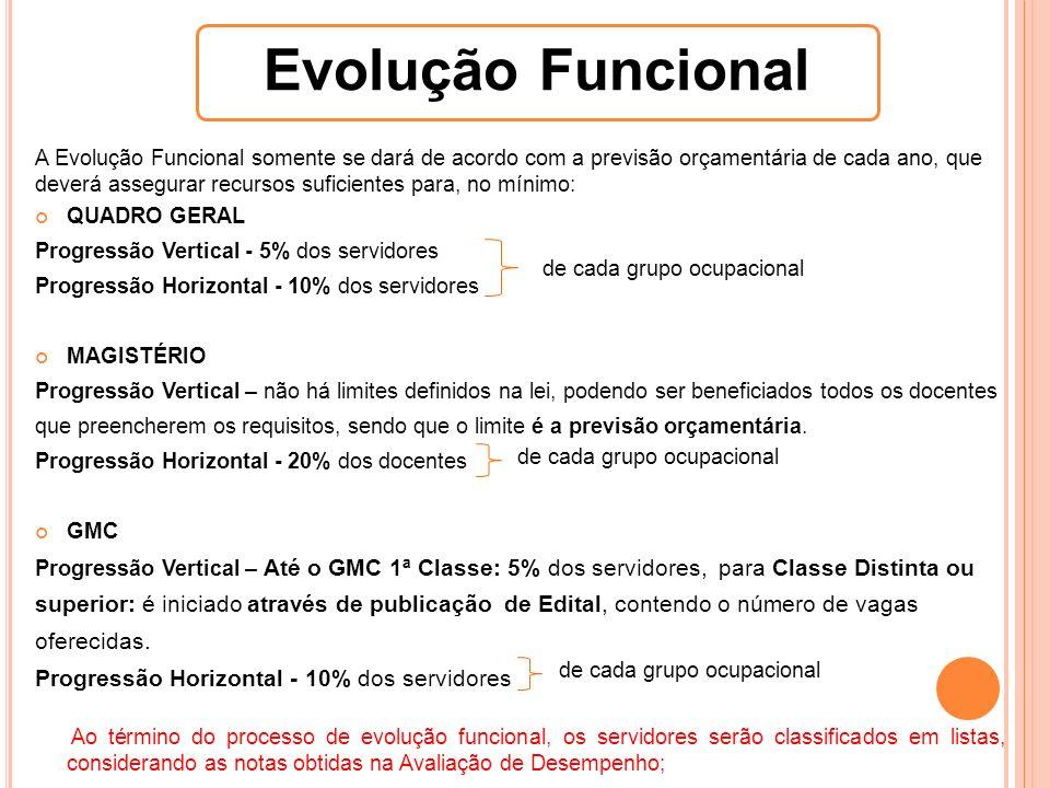 Evolução Funcional de cada grupo ocupacional de cada grupo ocupacional