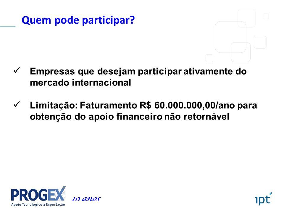 Quem pode participar Empresas que desejam participar ativamente do mercado internacional.