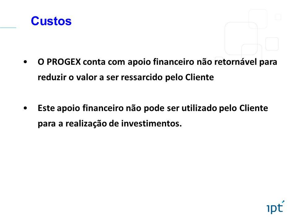 Custos O PROGEX conta com apoio financeiro não retornável para reduzir o valor a ser ressarcido pelo Cliente.