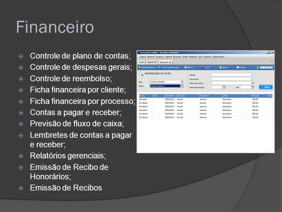 Financeiro Controle de plano de contas; Controle de despesas gerais;