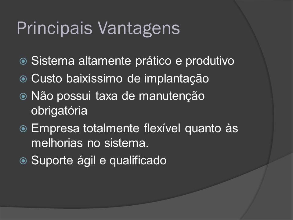 Principais Vantagens Sistema altamente prático e produtivo