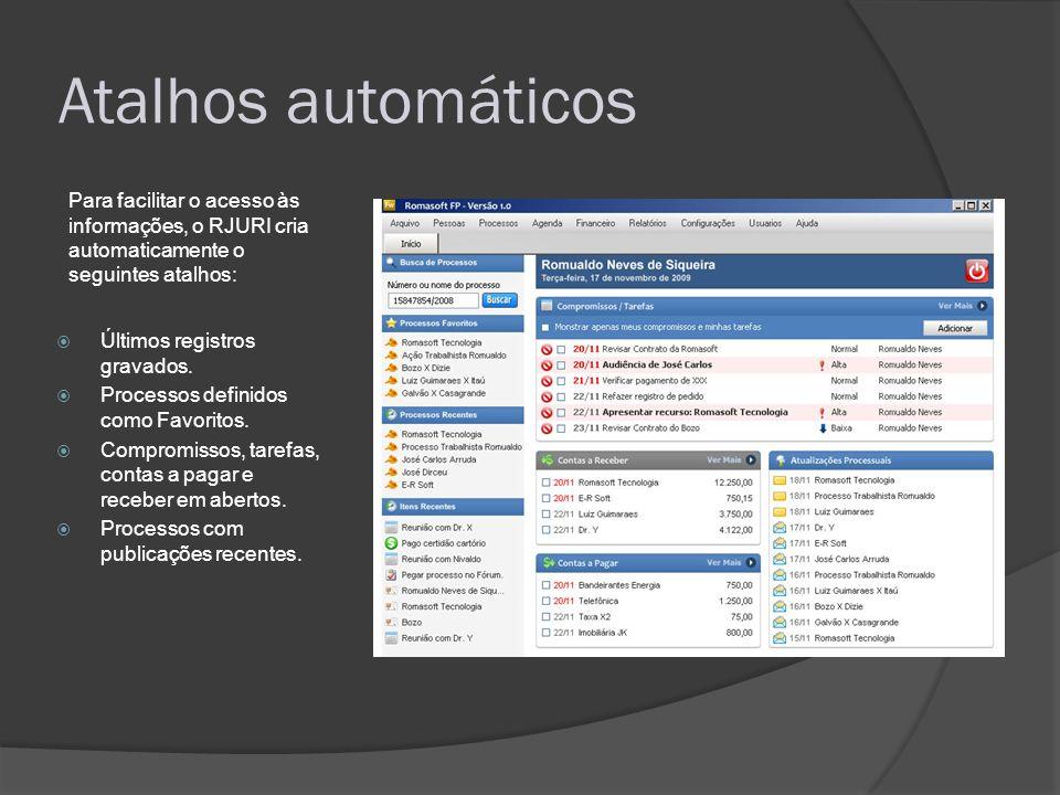 Atalhos automáticos Para facilitar o acesso às informações, o RJURI cria automaticamente o seguintes atalhos:
