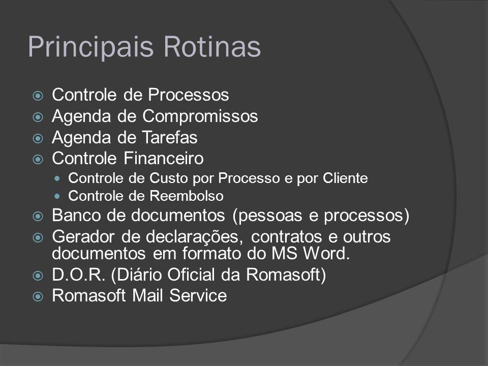 Principais Rotinas Controle de Processos Agenda de Compromissos