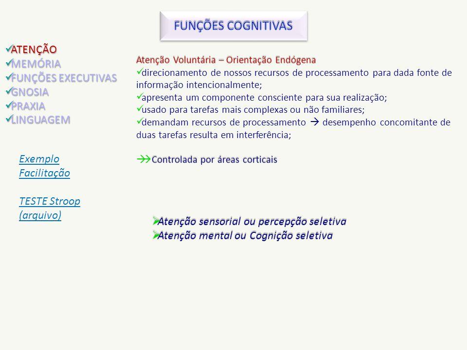 FUNÇÕES COGNITIVAS ATENÇÃO MEMÓRIA FUNÇÕES EXECUTIVAS GNOSIA PRAXIA