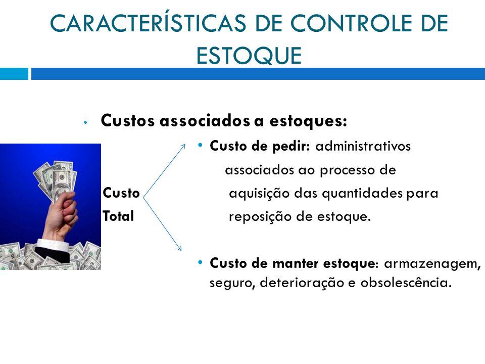 CARACTERÍSTICAS DE CONTROLE DE ESTOQUE