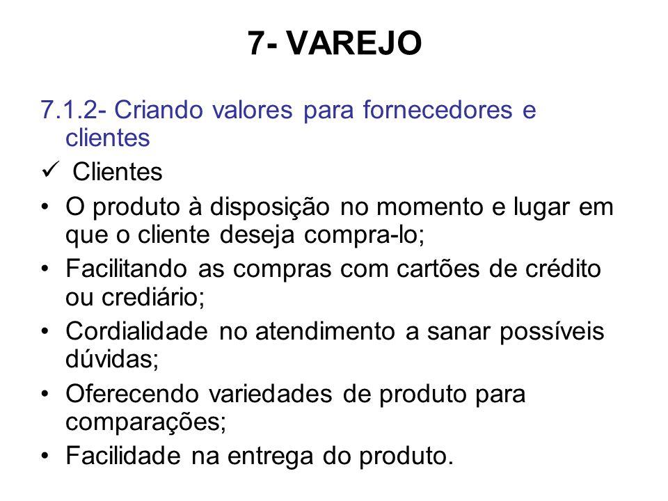 7- VAREJO 7.1.2- Criando valores para fornecedores e clientes Clientes