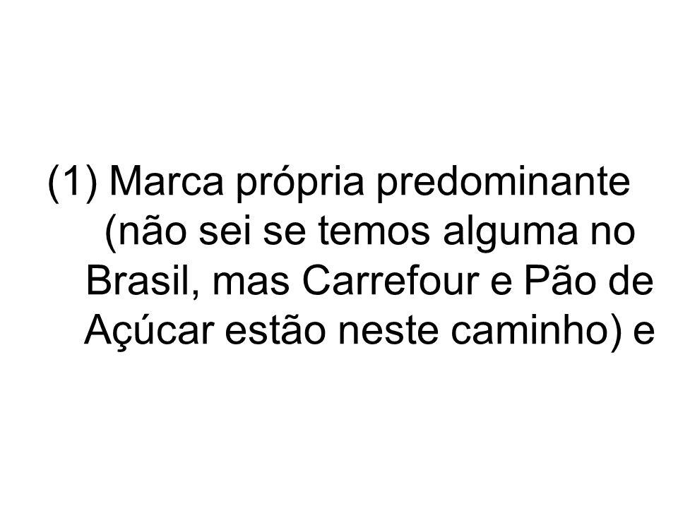 Marca própria predominante (não sei se temos alguma no Brasil, mas Carrefour e Pão de Açúcar estão neste caminho) e