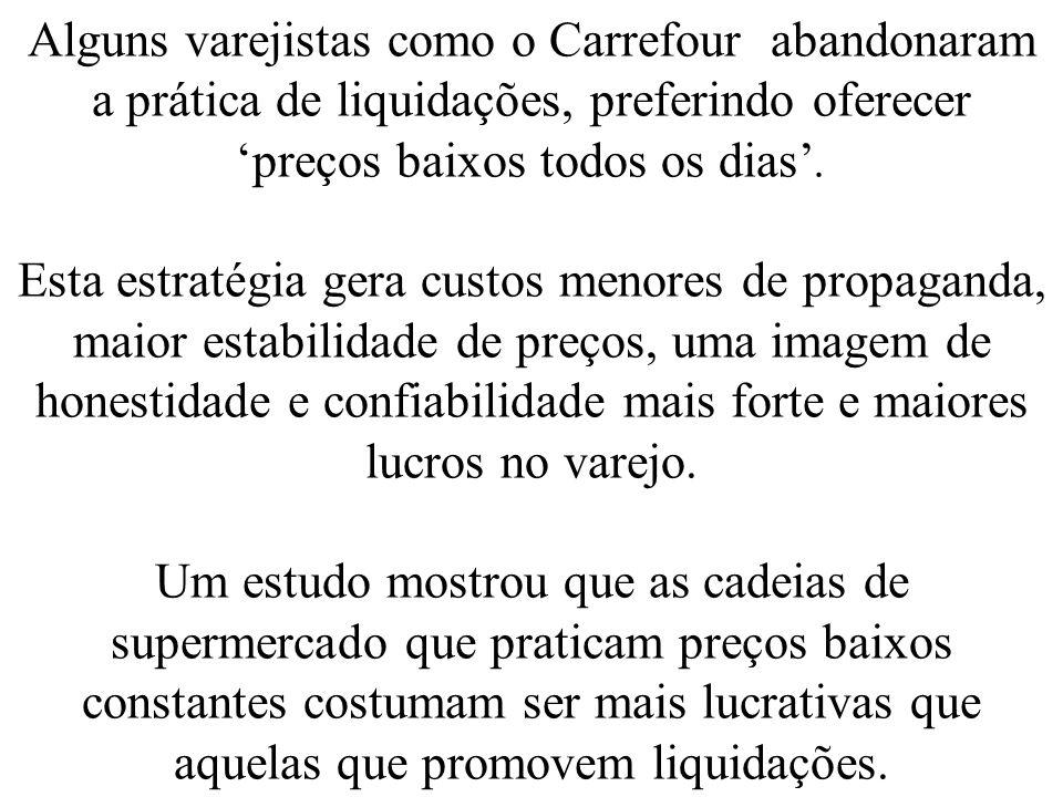 Alguns varejistas como o Carrefour abandonaram a prática de liquidações, preferindo oferecer 'preços baixos todos os dias'.