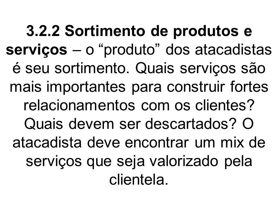 3.2.2 Sortimento de produtos e serviços – o produto dos atacadistas é seu sortimento.
