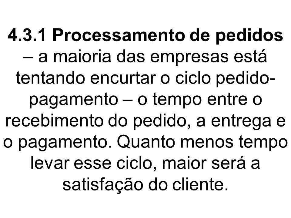4.3.1 Processamento de pedidos – a maioria das empresas está tentando encurtar o ciclo pedido-pagamento – o tempo entre o recebimento do pedido, a entrega e o pagamento.