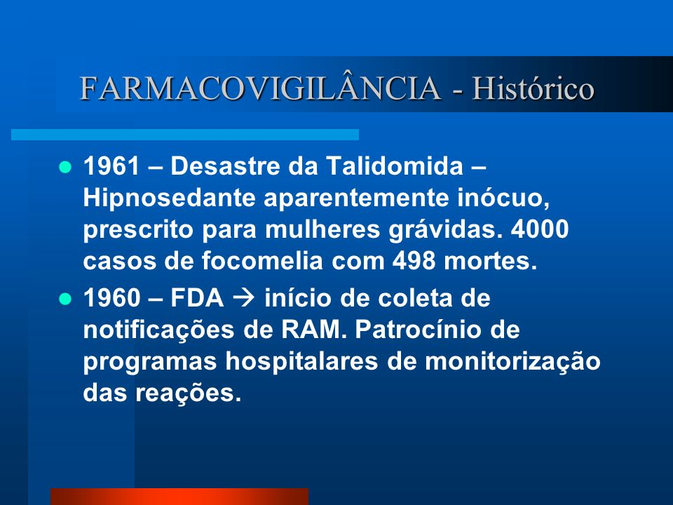 FARMACOVIGILÂNCIA - Histórico