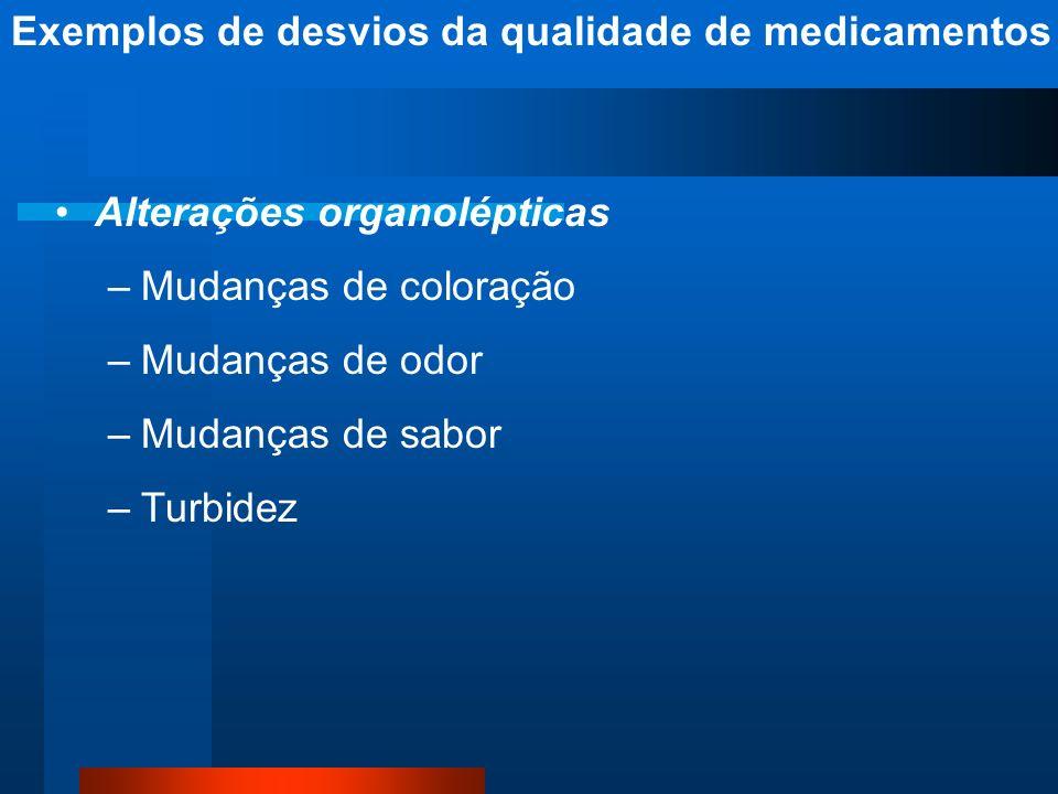 Exemplos de desvios da qualidade de medicamentos