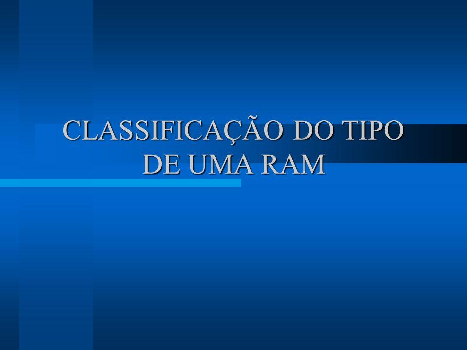 CLASSIFICAÇÃO DO TIPO DE UMA RAM