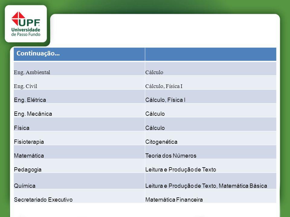 Continuação… Eng. Ambiental Cálculo Eng. Civil Cálculo, Física I