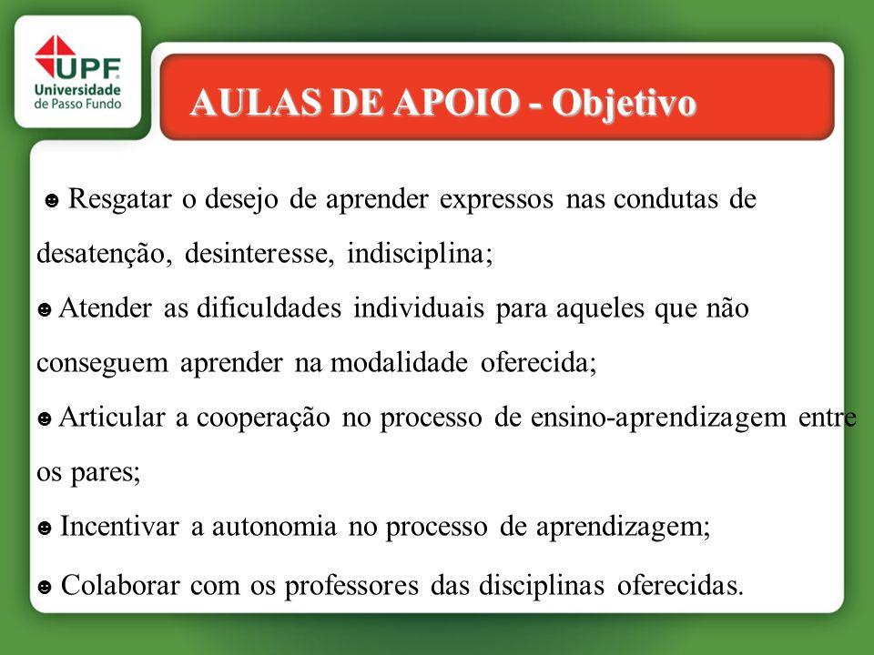 AULAS DE APOIO - Objetivo