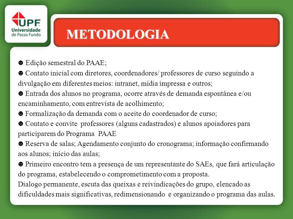 METODOLOGIA ☻ Edição semestral do PAAE;