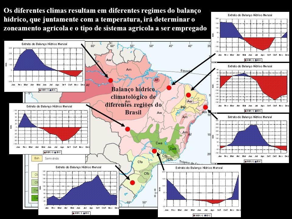 Balanço hídrico climatológico de diferentes regiões do Brasil
