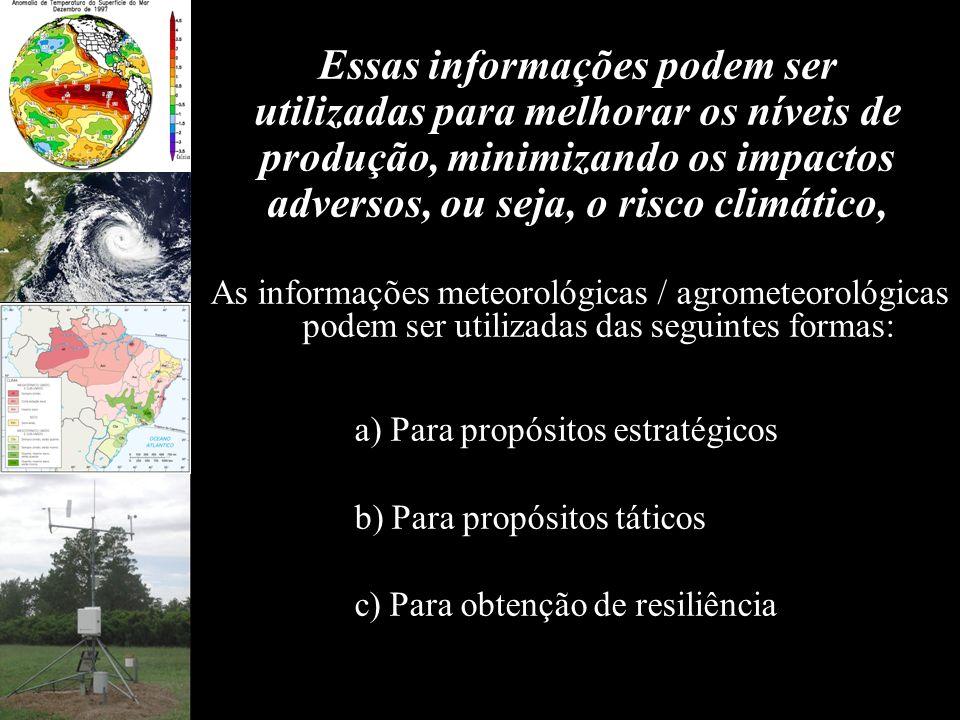 Essas informações podem ser utilizadas para melhorar os níveis de produção, minimizando os impactos adversos, ou seja, o risco climático,