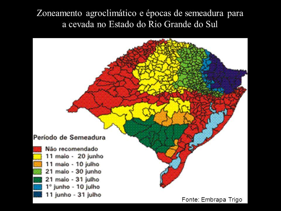 Zoneamento agroclimático e épocas de semeadura para a cevada no Estado do Rio Grande do Sul