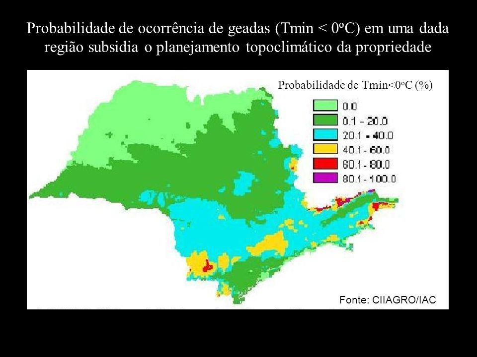 Probabilidade de ocorrência de geadas (Tmin < 0oC) em uma dada região subsidia o planejamento topoclimático da propriedade