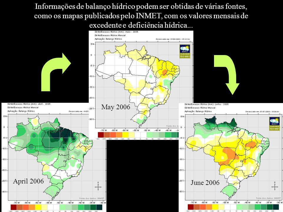 Informações de balanço hídrico podem ser obtidas de várias fontes, como os mapas publicados pelo INMET, com os valores mensais de excedente e deficiência hídrica...