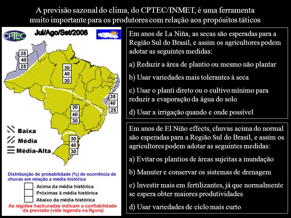A previsão sazonal do clima, do CPTEC/INMET, é uma ferramenta muito importante para os produtores com relação aos propósitos táticos