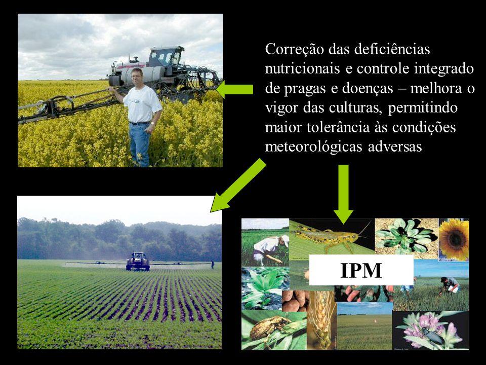 Correção das deficiências nutricionais e controle integrado de pragas e doenças – melhora o vigor das culturas, permitindo maior tolerância às condições meteorológicas adversas