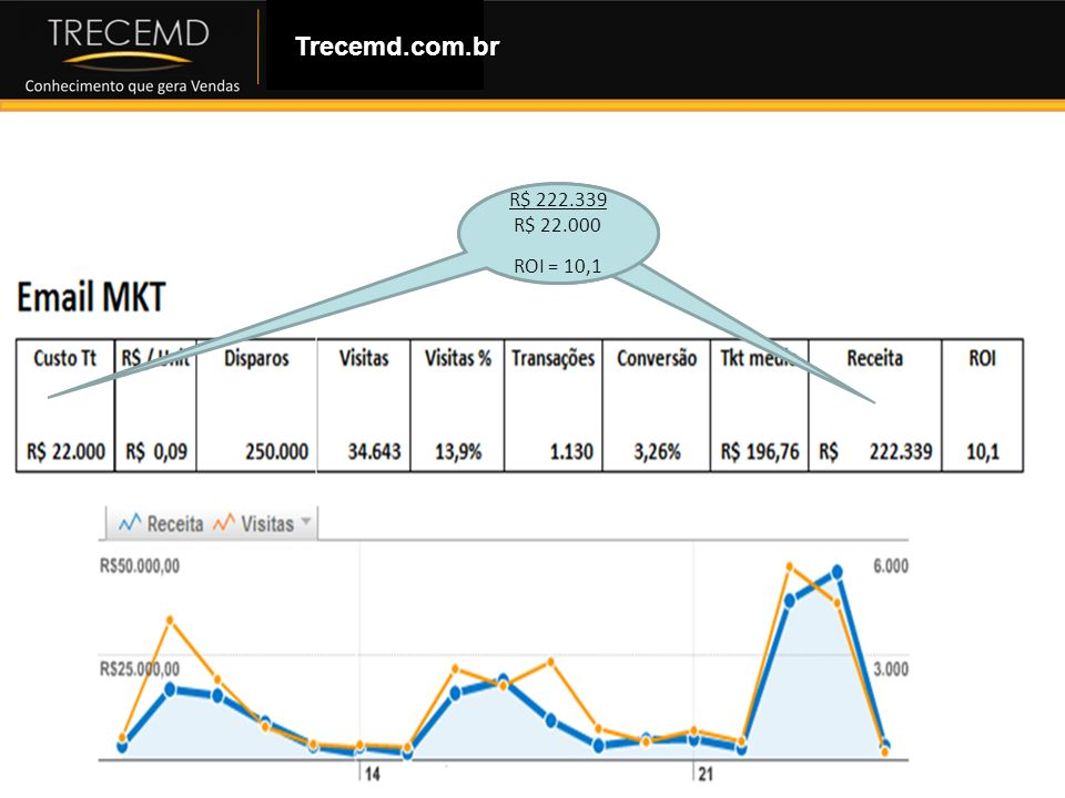 Trecemd.com.br R$ 222.339 R$ 22.000 ROI = 10,1