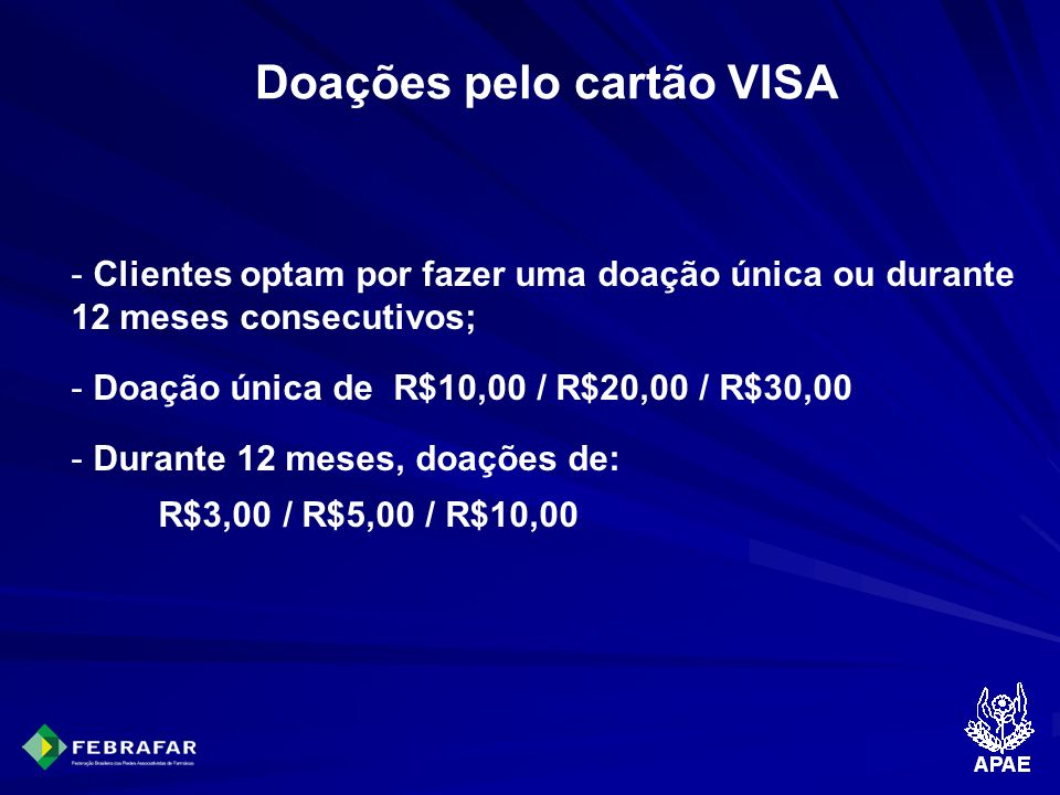 Doações pelo cartão VISA