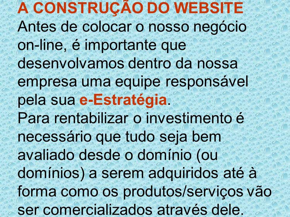 A CONSTRUÇÃO DO WEBSITE Antes de colocar o nosso negócio on-line, é importante que desenvolvamos dentro da nossa empresa uma equipe responsável pela sua e-Estratégia.