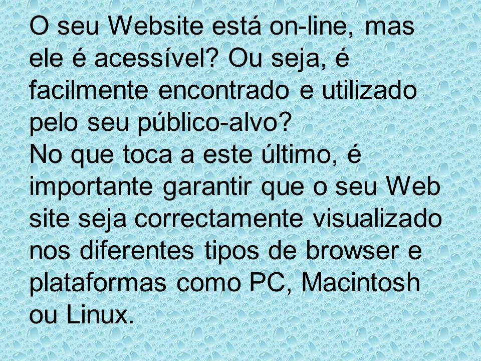 O seu Website está on-line, mas ele é acessível