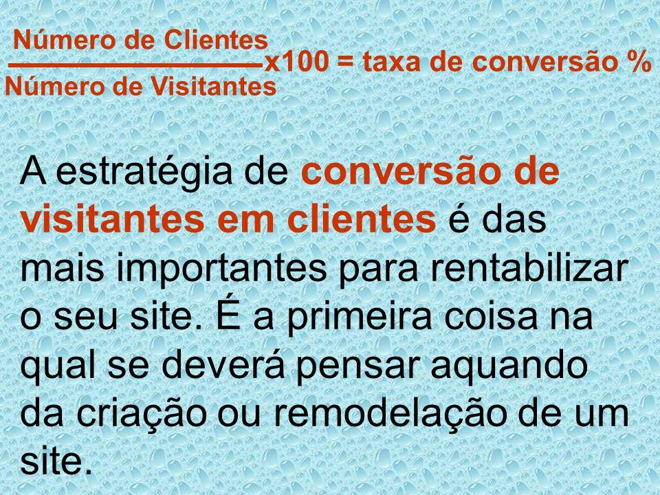 x100 = taxa de conversão % Número de Clientes. Número de Visitantes.