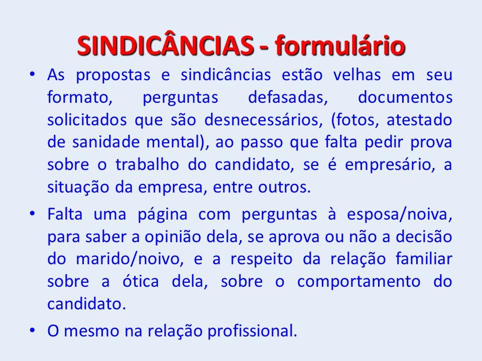 SINDICÂNCIAS - formulário
