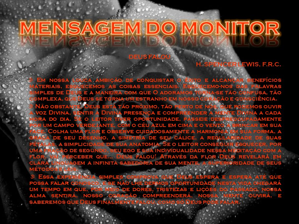 MENSAGEM DO MONITOR