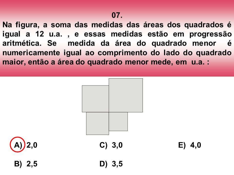 07. Na figura, a soma das medidas das áreas dos quadrados é igual a 12 u.a. , e essas medidas estão em progressão aritmética. Se medida da área do quadrado menor é numericamente igual ao comprimento do lado do quadrado maior, então a área do quadrado menor mede, em u.a. :