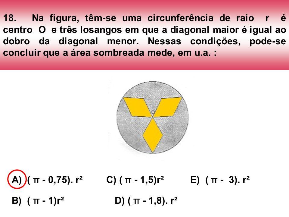 18. Na figura, têm-se uma circunferência de raio r é centro O e três losangos em que a diagonal maior é igual ao dobro da diagonal menor. Nessas condições, pode-se concluir que a área sombreada mede, em u.a. :