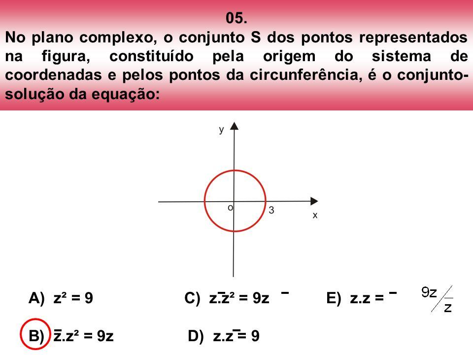 05. No plano complexo, o conjunto S dos pontos representados na figura, constituído pela origem do sistema de coordenadas e pelos pontos da circunferência, é o conjunto-solução da equação: