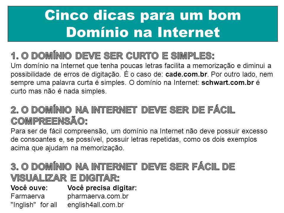 Cinco dicas para um bom Domínio na Internet