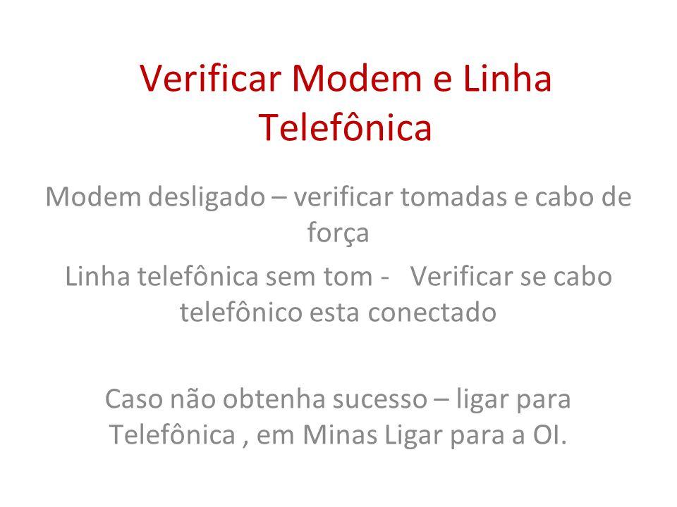 Verificar Modem e Linha Telefônica