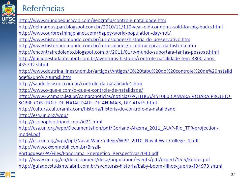 Referências http://www.mundoeducacao.com/geografia/controle-natalidade.htm.