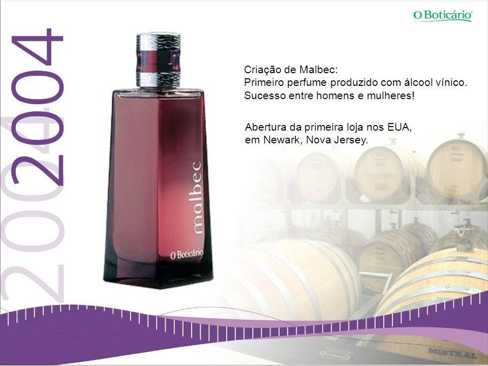 Criação de Malbec: Primeiro perfume produzido com álcool vínico. Sucesso entre homens e mulheres! Abertura da primeira loja nos EUA,