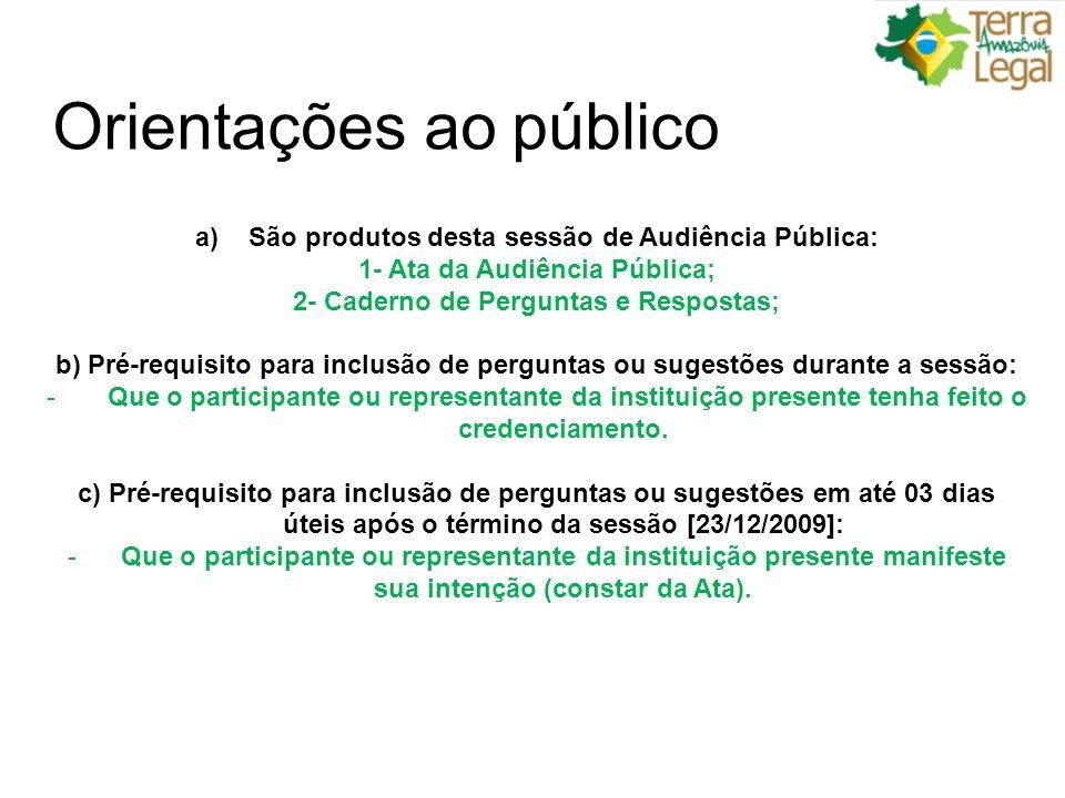 Orientações ao público