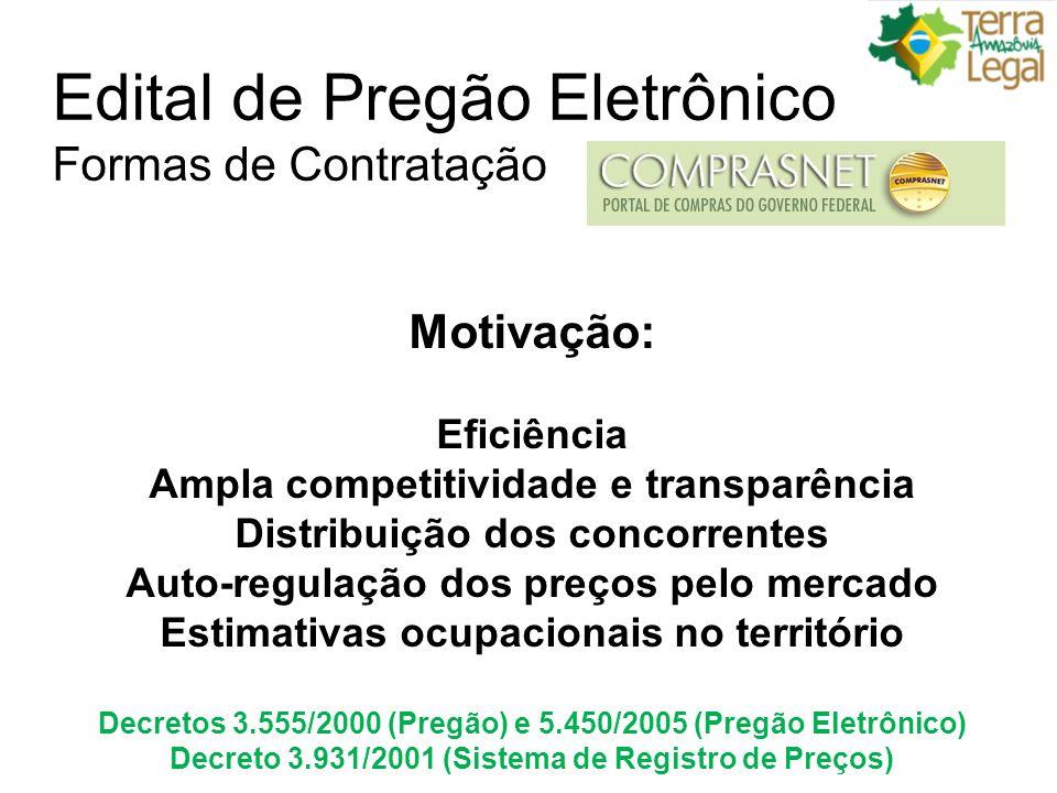 Edital de Pregão Eletrônico Formas de Contratação