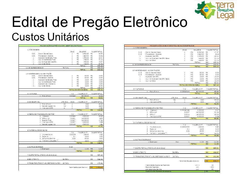Edital de Pregão Eletrônico Custos Unitários