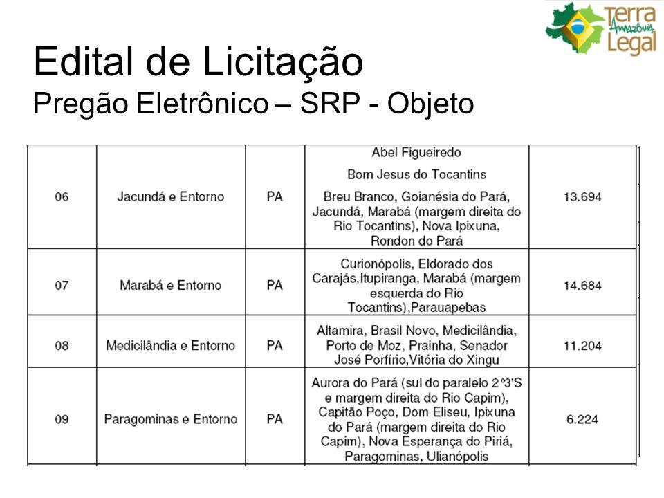 Edital de Licitação Pregão Eletrônico – SRP - Objeto