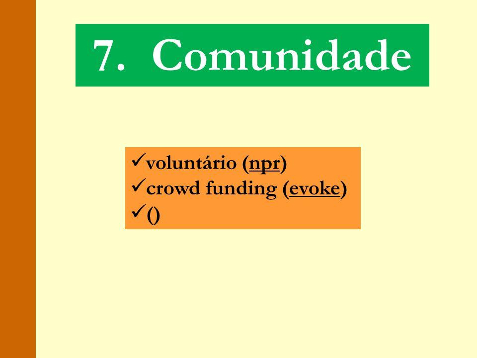 7. Comunidade voluntário (npr) crowd funding (evoke) ()