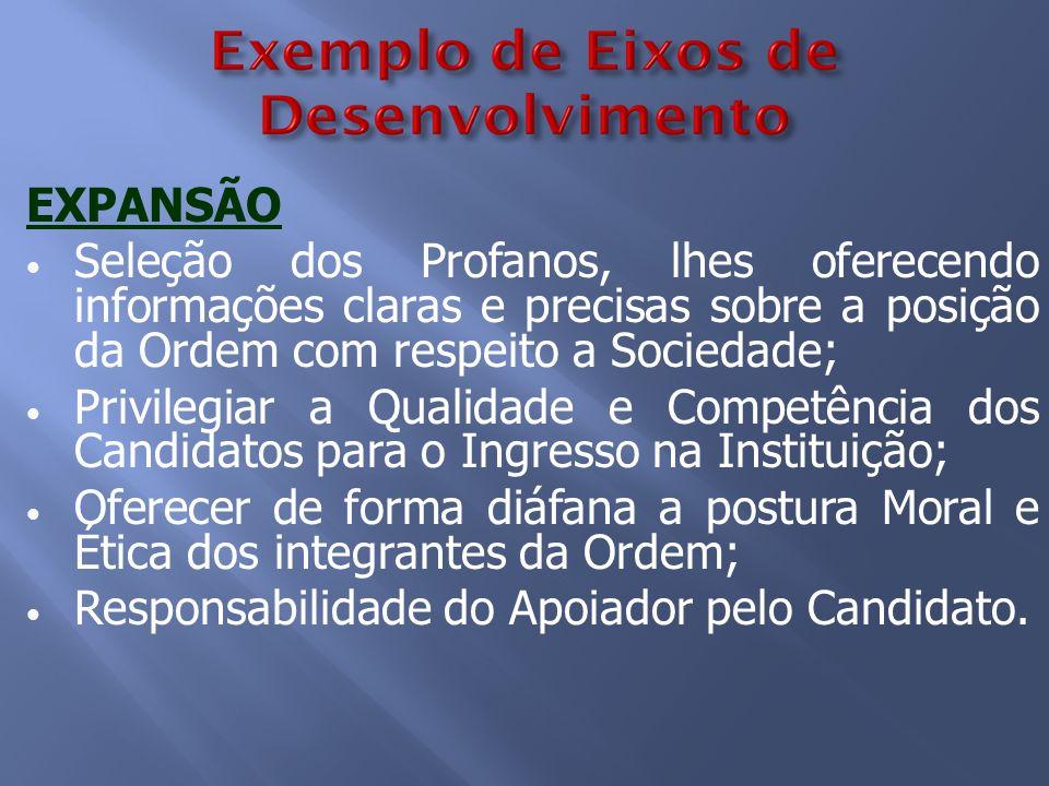 EXPANSÃO Seleção dos Profanos, lhes oferecendo informações claras e precisas sobre a posição da Ordem com respeito a Sociedade;