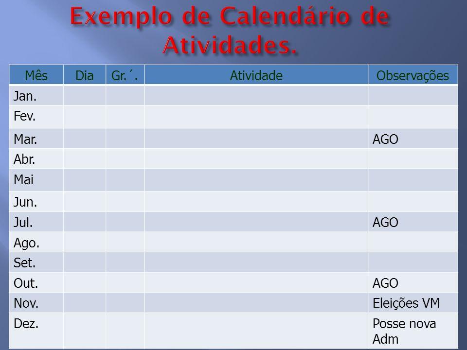 Exemplo de Calendário de Atividades.